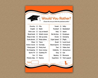 Would You Rather Graduate, This or That Graduate, Graduation Games Printable, Orange and Black Graduation Party Printables Downloadable G1