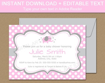 Pink Elephant Baby Shower Invitation - Editable Baby Shower Invites Girl - Pink Polka Dot Invitation Template Baby Shower Download BB7