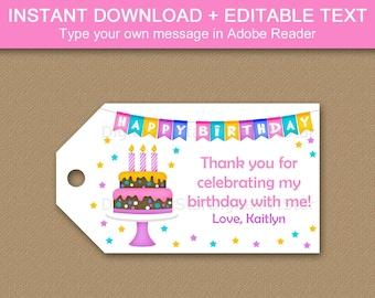 Happy Birthday Gift Tags, Happy Birthday Tags Editable, Girl Birthday Thank You Tags, Birthday Favor Tags Download, Printable Tags B9