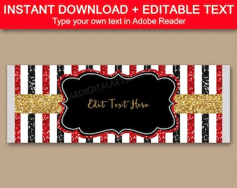 Black Red and Gold Candy Bar Wrapper Template - Birthday Favors for Adults - Retirement Party Favors - Family Reunion Favors - Editable B4