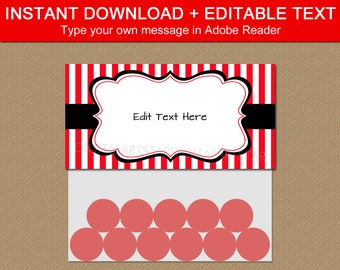 Editable Bag Toppers, Birthday Party Favors For Adults, Retirement Party Favors, Goodie Bag Template, Red and White Party Printables B3