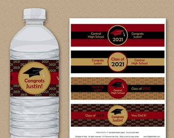 Black Burgundy Gold Graduation Party Decorations, Graduation Water Bottle Labels Personalized, Printable Graduation Water Bottle Stickers G1