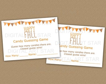 Candy Guessing Fall - Happy Fall Printable Game - Fall Candy Guessing Game - Fall Guess How Many Candies - Downloadable Fall Game for Adults