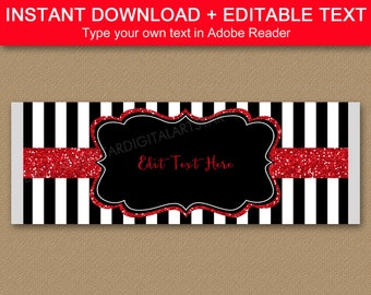 Black and White Birthday Candy Bar Wrapper Template, Black and Red Chocolate Wrapper Printable, Candy Bar Labels, Adult Birthday Favors B4