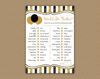 Would She Rather Birthday Game, Printable Birthday Games Adult, This or That Birthday, 50th Birthday Games for Women, Games Printable B4