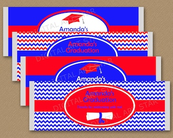 Red and Blue Graduation Candy Bar Wrapper Template, College Graduation Favors 2021, Chocolate Bar Wrapper Template Graduation Printable G3