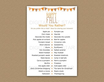 Fall Would You Rather, Fall Games Printables, Would You Rather Fall, Fall This or That Ice Breaker, Happy Fall Party Games, Fall Party Ideas
