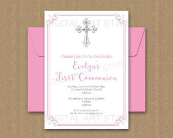 First Communion Invitation Girl Instant Download - Girl First Holy Communion Invites - 1st Communion Invitation Editable Printable FC2