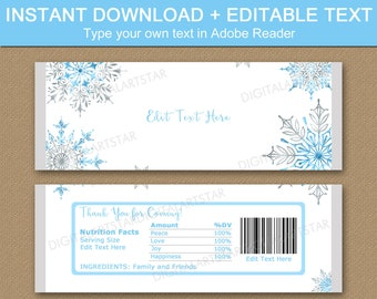 Candy Bar Wrapper Winter, Snowflake Candy Wrapper Template, Christmas Wedding Favors for Guests, Winter Wedding Favors, Snowflake Party