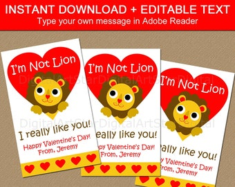 School Valentines Printable, Lion Valentine Card, Valentines Digital Downloads, Personalized Valentine's Day Cards for Kids, Editable PDF