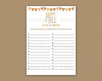 A to Z Fall Game Printable - Happy Fall Alphabet Game - Fall Games for Kids - Fall Games for Adults - Fall Games for Teens Instant Download