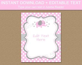 Pink Elephant Baby Shower Decorations, Elephant Baby Shower Sign, Welcome Home Baby Sign, Baby Girl Shower Sign, Baby Shower Favor Sign BB7