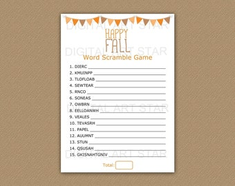 Fall Word Scramble - Fall Games Printable - Word Scrambles Game - Fall Games for Adults - Fall Games for Kids - Fall Party Games Download
