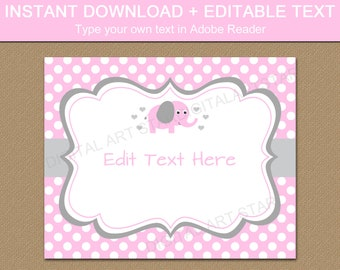 Elephant Baby Shower Sign Printable - Pink and Gray Elephant Baby Shower Decorations - Pink Elephant Baby Shower Welcome Sign Template BB7