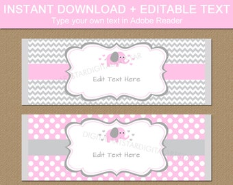 Pink Elephant Candy Bar Wrappers, Pink and Grey Elephant Baby Shower Favors, Chocolate Bar Wrapper Template, Baby Girl Elephant Shower BB7