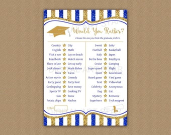 2021 Graduation Game, Would You Rather Graduate, Graduation Party Game This or That, Royal Blue and Gold Graduation Games Printable, G9