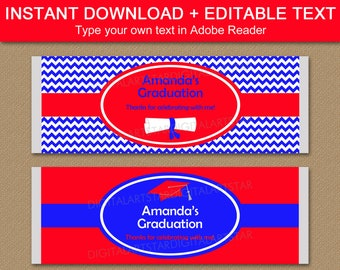 Graduation Candy Bar Wrapper Template, Red and Blue Graduation Candy Wrappers, Printable Graduation Party Favors, Class of 2021 Favors G3