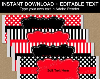 Candy Bar Wrappers Birthday, Red and Black Chocolate Bar Wrappers, Candy Labels Printable, Family Reunion Party Favors, Editable Download B3