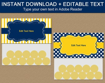 Treat Bag Toppers, Treat Bag Template, Navy and Yellow Bag Labels, Baby Boy Shower Printable, Birthday Favor Bags, Birthday Favor for Men B3