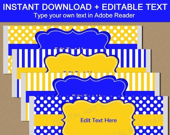 Royal Blue and Yellow Candy Bar Wrappers Printable, Birthday Favors for Adults, Thank You Favors for Guests, Baby Shower Party Favors B3