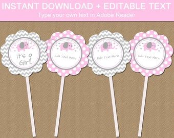 Pink Elephant Baby Shower Cupcake Toppers - Girl Baby Shower Decorations - Pink and Gray Elephant Baby Shower Cupcake Picks Customized BB7