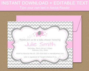 Pink and Gray Elephant Baby Shower Invitation Template - Pink Elephant Baby Shower Invite - Downloadable Baby Shower Invitation Girl BB7