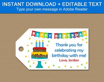 Happy Birthday Tags Printable Editable, Birthday Favor Tags Boy, Birthday Gift Tags Template, Adult Birthday Tags Instant Download B9