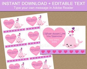 Whale Valentine Card, Printable Valentine Cards for Kids, Classroom Valentine's Day Cards, DIY Valentines, Editable Valentine Template