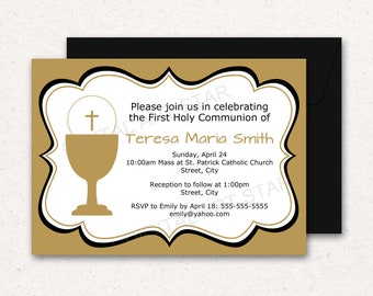 First Holy Communion Invitation PDF - 1st Communion Invitations Printable - Holy Communion Editable Invitations - Downloadable Template FC1