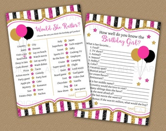 Birthday Game Bundle, Who Knows the Birthday Girl Best, 50th Birthday Games for Women, Would She Rather, 30th Birthday Games Printable B4