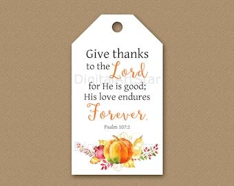 Thanksgiving Bible Verse Gift Tags - Printable Thanksgiving Tags - Christian Hang Tag Download - Fall Gift Tag - Autumn Gift Tag - Psalm 107