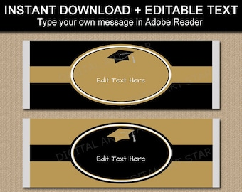 Black and Gold Graduation Candy Wrappers Printable - Graduation Favors - Graduation Ideas - Instant Download Candy Bar Label Template G5