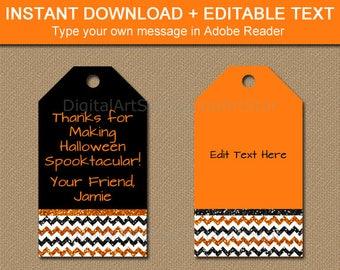 Halloween Tag Printable, Halloween Tag Template, Printable Glitter Tags, Halloween Birthday Gift Tags, Halloween Hang Tags, Favor Tags B8