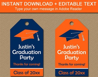 Orange and Navy Graduation Thank You Tags Instant Download, Graduation Tags Printable, Editable Tags, Graduation Gift Tag Template G1