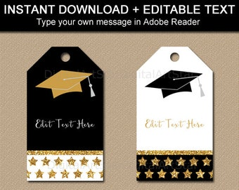 Graduation Tags, Black Gold Graduation Party Favor Tags, Graduation Thank You Tag Template, High School Graduation Party Printable Tags G10
