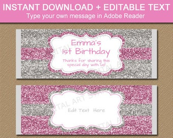 First Birthday Candy Bar Wrappers, Chocolate Bar Wrapper, Pink Silver Glitter Labels, DIY Baby Shower Favors, 1st Birthday Party Favors B5