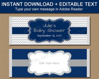 Navy Gray Shower Candy Favors, Baby Boy Shower Candy Buffet Ideas, Personalized Favors, EDITABLE Candy Bar Wrappers, Candy Station Ideas BB1