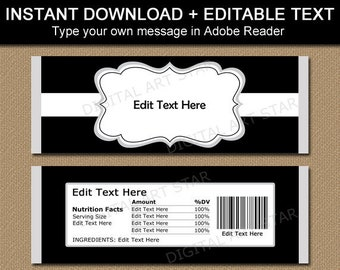 Black and White Candy Bar Wrapper Editable, 40th Birthday, 80th Birthday Party Favors for Guests, Retirement Favors, Family Reunion Ideas B7
