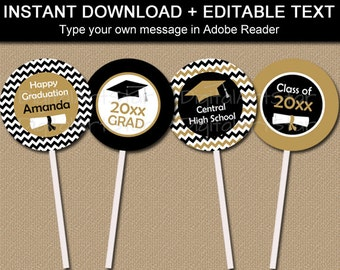 Black and Gold Graduation Party Decorations Printable Graduation Cupcake Toppers EDITABLE Graduation Cupcake Picks Class of 2021 G3