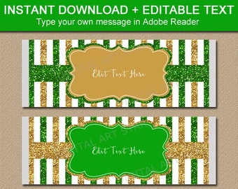 Green and Gold Candy Wrapper Printable, Christmas Candy Bar Wrappers Instant Download, Holiday Party Favors Personalized, Chocolate Wrap B4