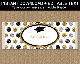 Graduation Candy Wrappers, Editable Candy Bar Wrapper Template, Chocolate Bar Wrapper Template Black Gold Silver, Party Favors Ideas G12