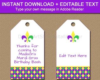 Printable Mardi Gras Tags, Editable Mardi Gras Hang Tags, Mardi Gras Birthday Tags, Gift Tags, Wine Tags, DIY Birthday Favor Tags M1
