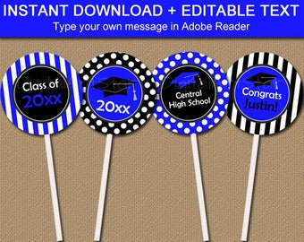 Graduation Cupcake Toppers, Royal Blue and Black Party Decorations, High School Graduation Party Supplies, College Graduation Party Ideas G4