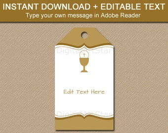 First Communion Favor Tags, First Communion Tag, Instant Download Thank You Tags, Gold First Communion Ideas, Gift Tag Template FC1