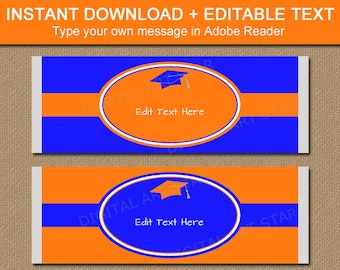 Orange and Blue Graduation Candy Bar Labels, Candy Bar Wrapper Editable, Graduation Party Favors, College Graduation Party Ideas G5