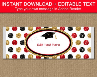 Graduation Candy Bar Wrapper Template, Chocolate Wrapper Template, Chocolate Party Favors, Grad Party Favors, Red Black Printable Favors G12