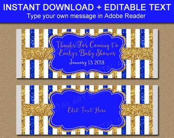 Baby Shower Favors Royal Blue and Gold Baby Shower Party Favors Candy Bar Wrapper Royal Blue and Gold Party Favors, Chocolate Bar Wrapper B4