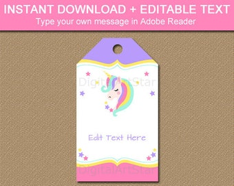 Unicorn Birthday Tags, Unicorn Favor Tags, Printable Tag, Hang Tags, Printable Birthday Tag, Thank You Tags, Editable Tag Template U1