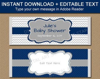 Baby Boy Shower Candy Bar Wrappers, Baby Shower Thank You Favors, Wedding Favors, Gray Navy Chocolate Bar Labels, Wedding Candy Cart BB1
