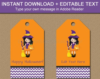 Girl Halloween Tags, Witch Tags, Gift Tag Printable, Halloween Thank You Tags, Editable Tag Template, Halloween Party Favor Tags WDS